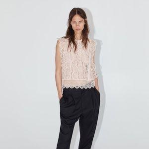 Zara Lace Top Beige-Pink size S 8741/021